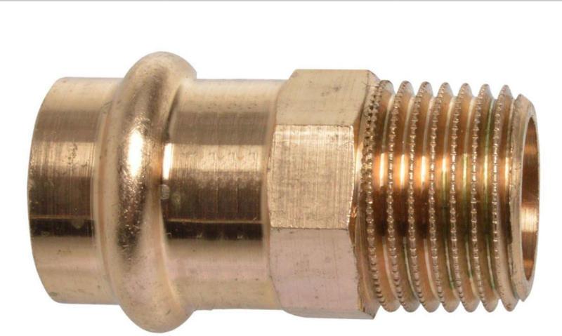 Übergangsstück, Pressfitting für Kupfer, 15 mmx1/2AG, V-Kontur, 10 St. 15 mm | 1/2 | 10