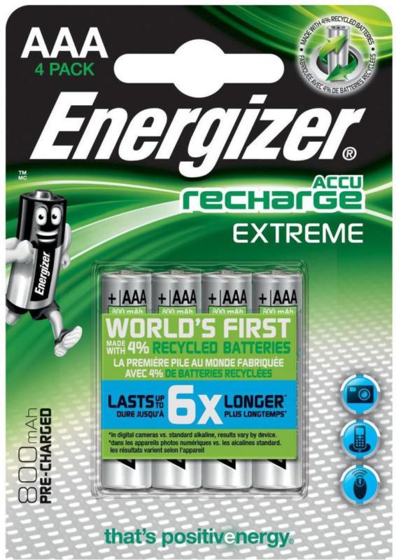 """AAA-Batterien """"Extreme"""", wiederaufladbar, 4Stück alle Geräte im täglichen Gebrauch"""