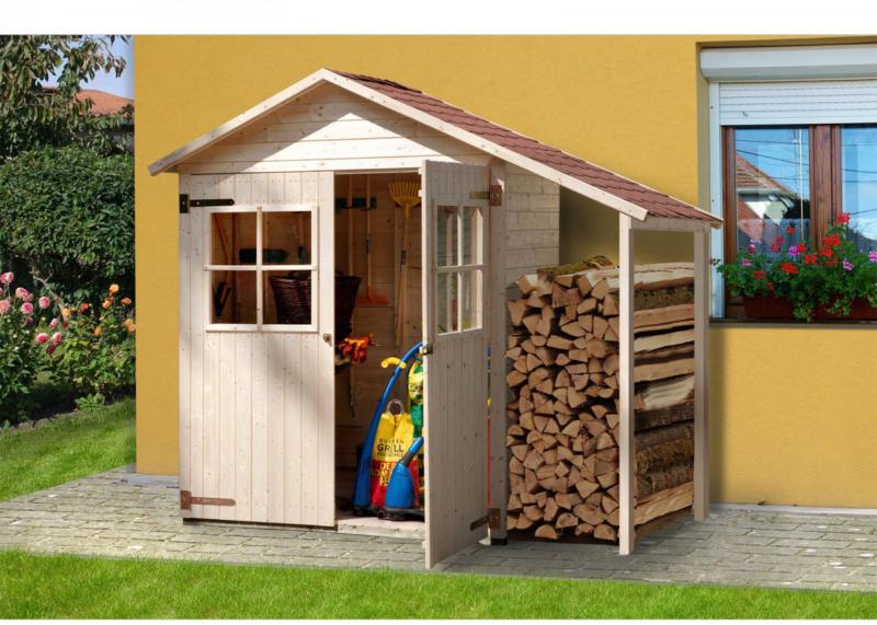 Gartenschrank mit Schleppddach, 224x87 cm, 224x87(Sockelmaß) cm 224x87x216 cm