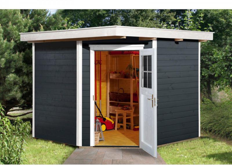 """Gartenhaus """"229"""", 21 mm, anthrazit, mit Fußboden, 270x270x217 cm 270x270x217 cm"""