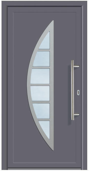 """Haustür """"JM Signum"""" PVC Mod. 28, weiß/titan, Anschlag rechts, 98x200 cm Außen: Titan, Innen: Weiß"""