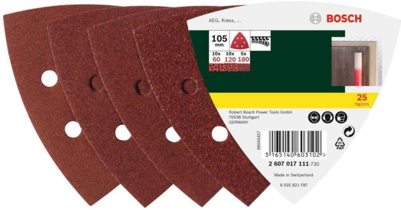 Deltaschleifblatt, Korund, K60/120/180, 10,5cm, 25 Stück Mehrere Körnungen