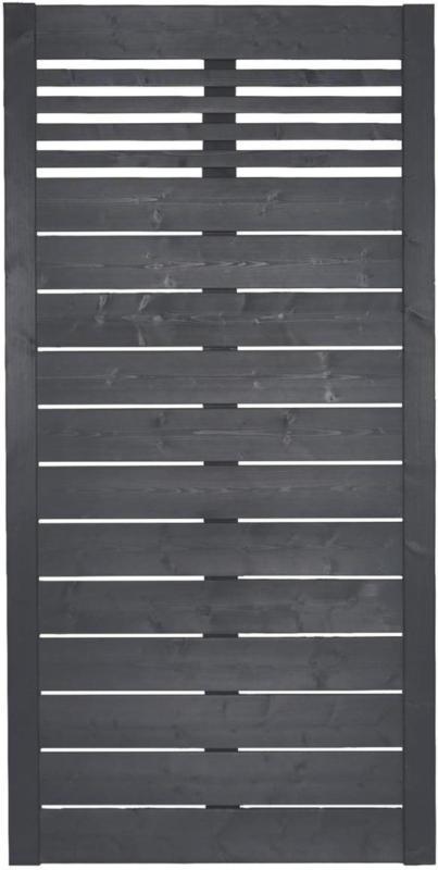 """Zaunserie """"Aalborg"""", Grundelement, 90x180 cm, Fichte, anthrazit lasiert"""
