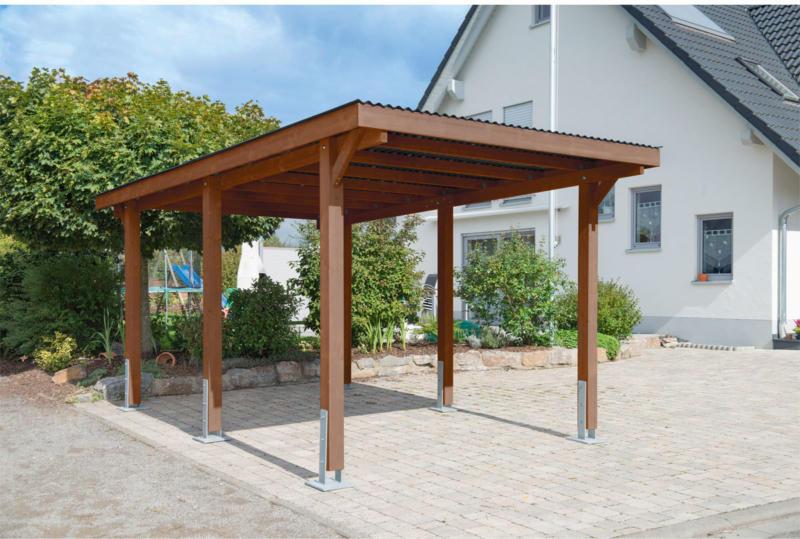 "Carport ""Dortmund"", 301x504 cm, Fichte tabak PVC   Fichte tabak"