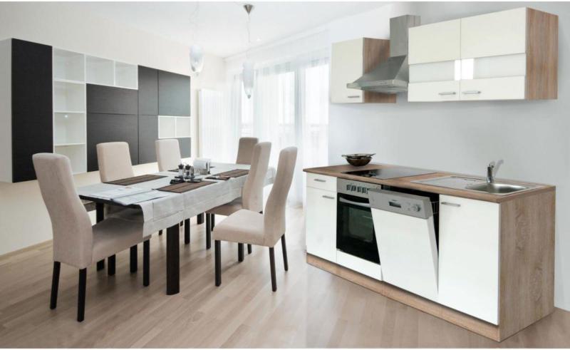 Küchenzeile 220 cm Eiche Sonoma sägerau Nachbildung/Weiß, Glaskeramik Glaskeramik