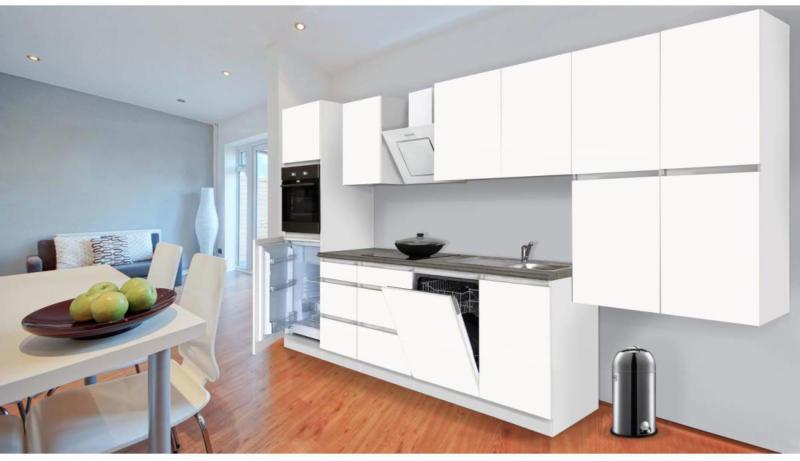 Grifflose Küchenzeile 380 cm Hochbau Weiß Matt 380 cm