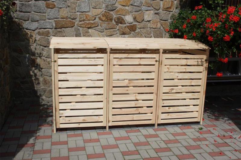 """Mülltonnenbox """"Vario III"""", für 3 Tonnen, natur"""