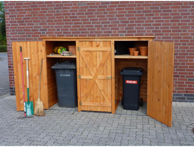 Mülltonnenschrank, 3türig, honigbraun