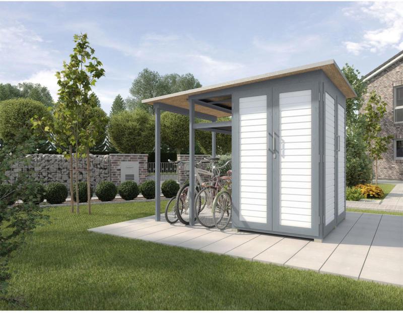 "Gerätehaus Garten [Q] ""Modul Family"", grau/weiß"