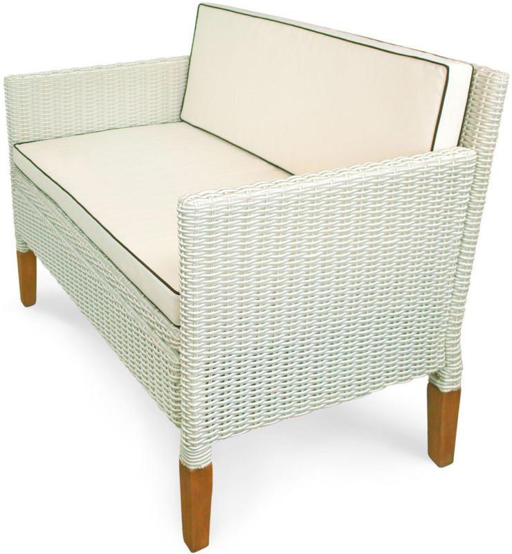 """Sofa """"Havanna"""", 2,5-Sitzer, Polyrattan und Holz"""