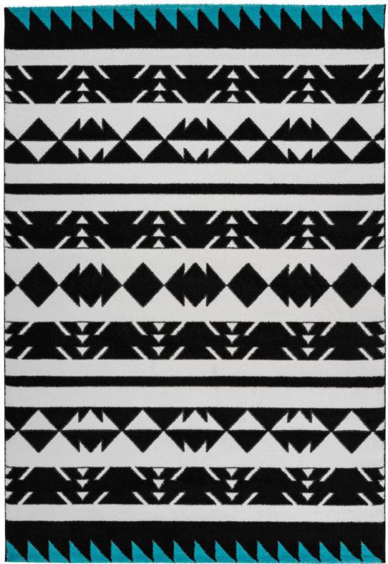 """Kurzflorteppich """"Broadway 400"""", schwarz/weiß/türkis 80x150 cm"""