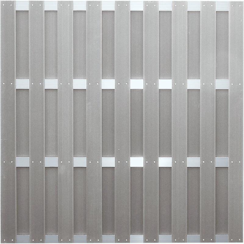 """Zaunserie """"JINAN"""", grau, 180 x 180 cm, WPC-Bretterzaun"""