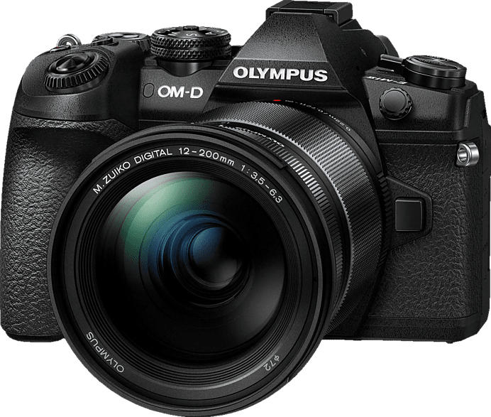 OLYMPUS OM-D E-M1 Mark II Kit Systemkamera 20.4 Megapixel mit Objektiv 12-200 mm , 7.6 cm Display   Touchscreen, WLAN