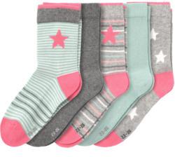 5 Paar Mädchen Socken mit Stern-Motiv