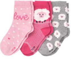 3 Paar Mädchen Socken mit Schaf-Motiv