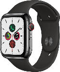 Media Markt APPLE  Watch Series 5 (GPS + Cellular) 44mm Smartwatch Edelstahl, Fluorelastomer, 140 - 200 mm , Armband: Schwarz, Gehäuse: Edelstahl Schwarz