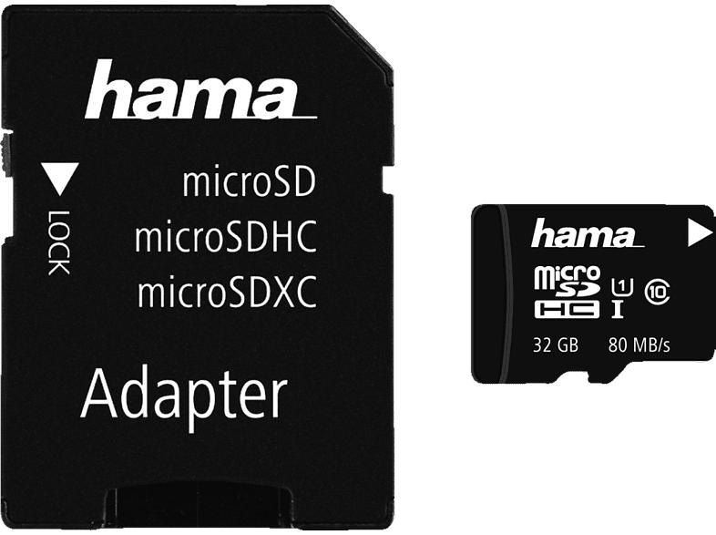 HAMA Class 10 UHS-I, Micro-SDHC Speicherkarte, 32 GB, 80 Mbit/s