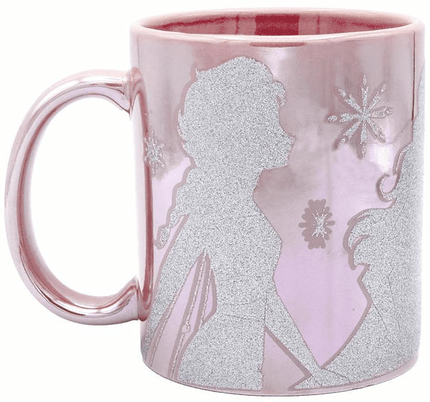 JOY TOY IT Disney Frozen II Tasse Elsa & Anna Glitzereffekt Eiskönigin Tasse, Rosa