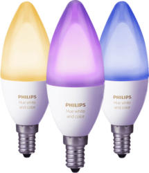 PHILIPS Hue Hue White and Color Ambiance E14 3-er Pack LED Leuchtmittel, Weiß
