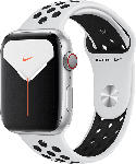 MediaMarkt APPLE  Watch Nike Series 5 (GPS + Cellular) 44mm Smartwatch Aluminium, Fluorelastomer, 140 - 200 mm , Armband: Pure  Platinum Schwarz, Gehäuse: Silber