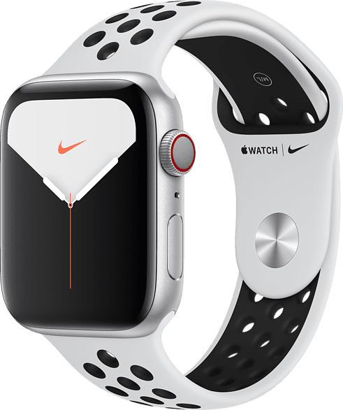 APPLE  Watch Nike Series 5 (GPS + Cellular) 44mm Smartwatch Aluminium, Fluorelastomer, 140 - 200 mm , Armband: Pure  Platinum Schwarz, Gehäuse: Silber