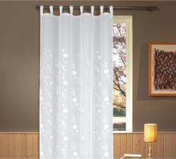 Vorhang mit Schlaufen und Band Helene B: 135cm, Weiß