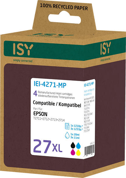 ISY IEI-4271-MP Tintenpatrone wiederaufbereitete Tintenpatrone 27 XL Mehrfarbig