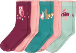 5 Paar Mädchen Socken mit Waldtier-Motiven