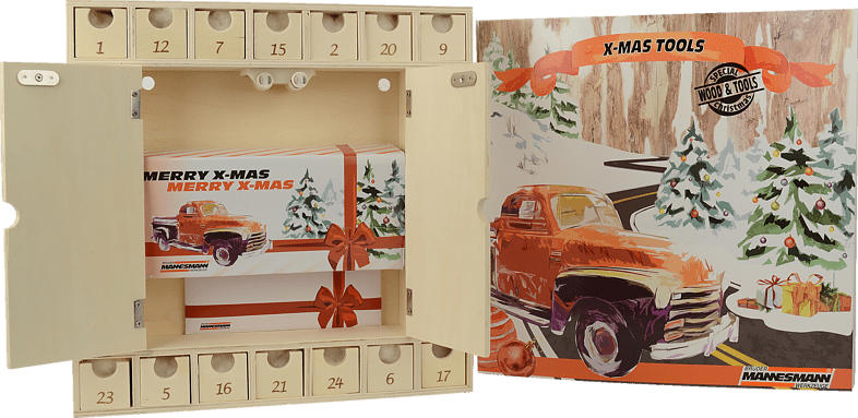 MANNESMANN 599930 Hobby-Tool Kit Werkzeuge Adventskalender, Holz natur