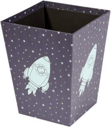 Mülleimer mit Raketen-Motiv