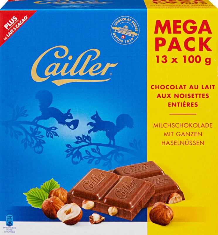 Tavoletta di cioccolata Cailler, Latte, nocciole intere, 13 x 100 g