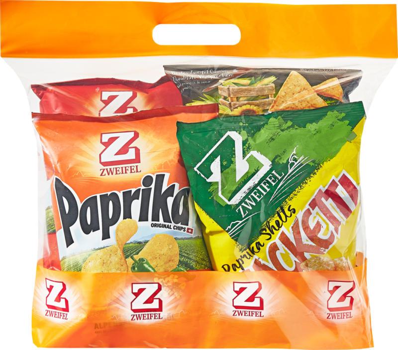 Zweifel Snacks, assortiert: Snacketti Paprika Shells, Paprika Chips, Nature Chips, Corn Chips Original, 1 Tasche
