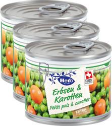 Hero Erbsen & Karotten Extra fein, 3 x 125 g