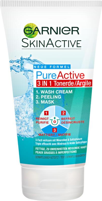Nettoyant + Exfoliant + Masque 3 en 1 Skin Active Garnier, Argile, 150 ml