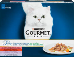 Purina Gourmet Perle Katzenfutter, Erlesene Streifen mit Gemüse, assortiert, 12 x 85 g