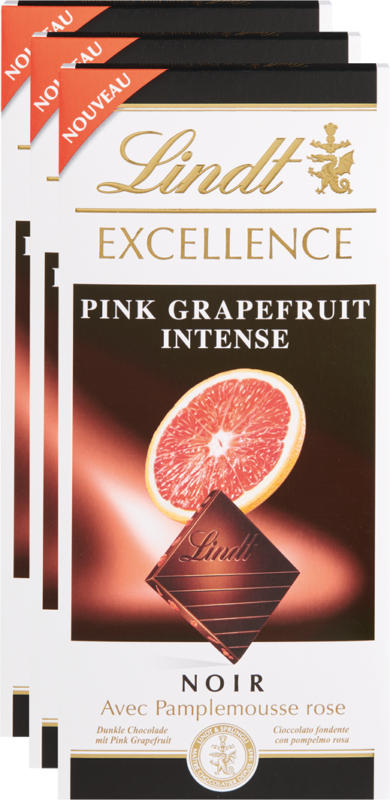Lindt Excellence Pink Grapefruit Intense, 3 x 100 g