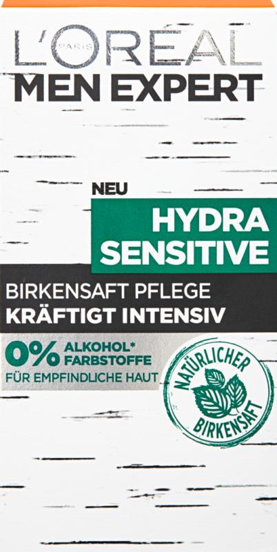 Trattamento idratante L'Oréal Men Expert Hydra Sensitive, con linfa de betulla, 50 ml