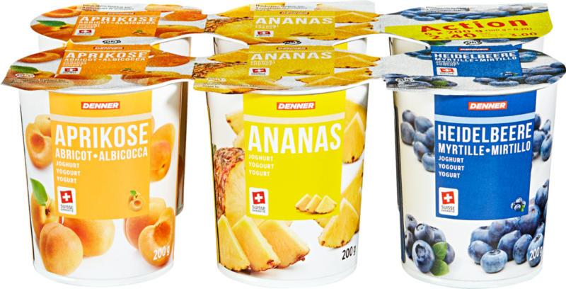 Yogourt Denner, Abricot, Ananas, Myrtille, assortis, 6 x 200 g