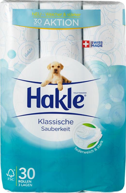 Hakle Toilettenpapier Klassische Sauberkeit Blau, 3-lagig, 30 x 150 Blatt