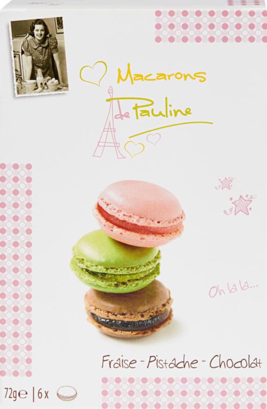 Macarons de Pauline, assortiert: Erdbeere, Pistazie, Schokolade, 72 g
