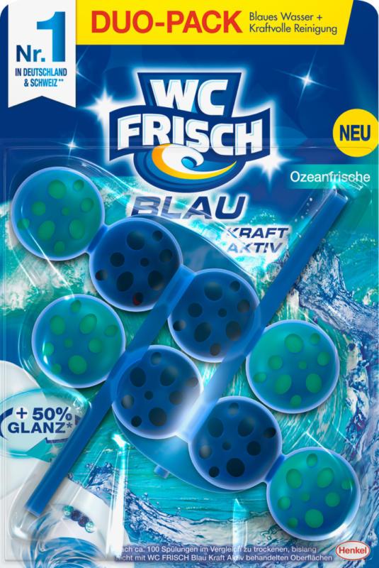 Bloc nettoyant WC Frisch Blau Kraft-Aktiv, Fraîcheur océanique, 2 x 50 g