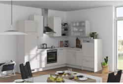 Einbauküche Eckküche Möbelix Fargo 285x220cm Weiß/Seidengrau