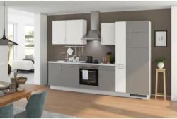 Einbauküche Küchenblock Möbelix Turin 310 cm Arktisgrau/Weiß