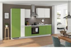 Einbauküche Küchenblock Möbelix Turin 310 cm Kiwi/Weiß