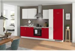 Einbauküche Küchenblock Möbelix Turin 310 cm Weiß/Signalrot