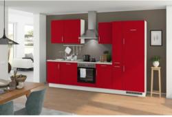 Einbauküche Küchenblock Möbelix Turin 310 cm Signalrot