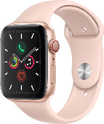 APPLE  Watch Series 5 (GPS + Cellular) 44mm Smartwatch Aluminium, Fluorelastomer, 140 - 200 mm , Armband: Sandrosa, Gehäuse: Gold