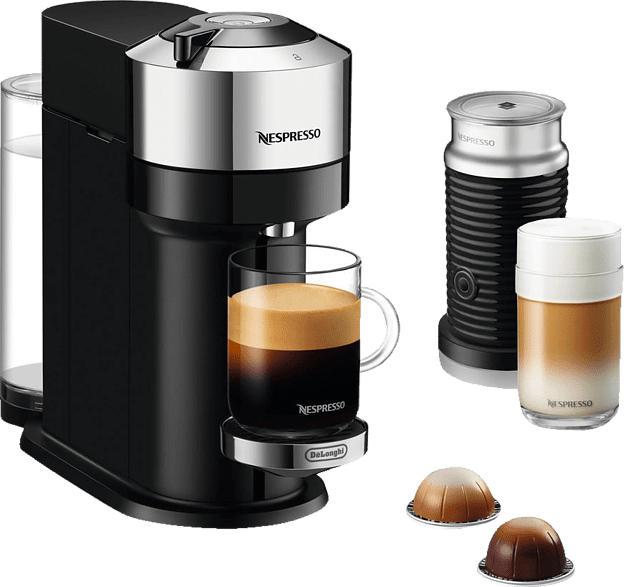 DELONGHI Nespresso Vertuo Next ENV120.CAE + Aeroccino3 Kapselmaschine, Pure Chrome