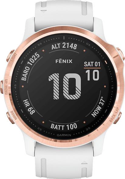 GARMIN  Fenix 6s Pro Smartwatch Metall, Silikon, 108-182 mm, Weißgold/Rosegold