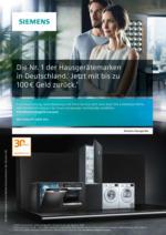 Jetzt bis zu 100€ Geld zurück bei Siemens Hausgeräten